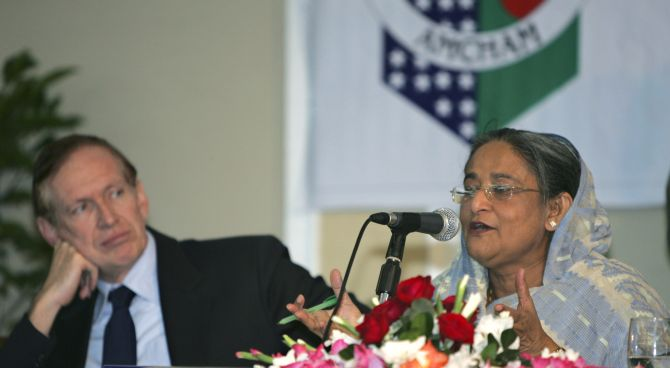 Prime Minister Sheikh Hasina, right, with then US ambassador James Moriarty in Dhaka, December 23, 2008.