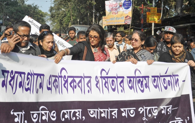 Actress Aparna Sen leads a protest against the rape in Kolkata