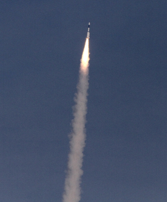 India's Geosynchronous Satellite Launch Vehicle blasts off carrying a 1980 kg GSAT-14 communication satellite from the Satish Dhawan space centre at Sriharikota