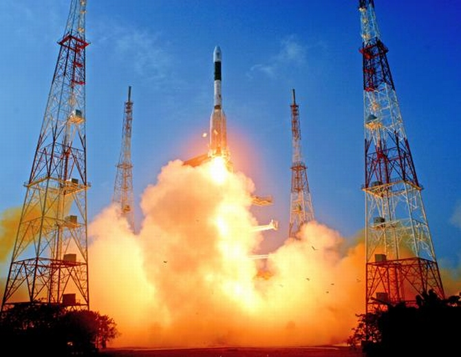 India's Geosynchronous Satellite Launch Vehicle blasts off from the Satish Dhawan space centre at Sriharikota