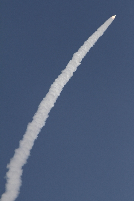 A contrail is seen as India's GSLV-D5 blasts off from the Satish Dhawan space centre at Sriharikota