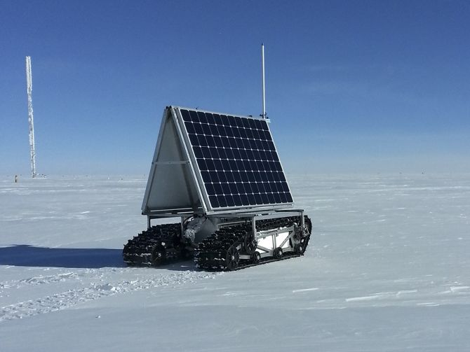 NASA's new Earth-bound rover, GROVER, which stands for both Greenland Rover and Goddard Remotely Operated Vehicle for Exploration and Research, in Summit Camp, the highest spot in Greenland