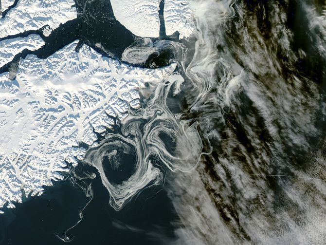 Sea ice of Greenland is pictured as captured by the MODIS instrument on NASA's Aqua satellite