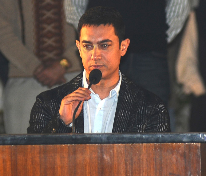 Actor Aamir Khan at the Apeejay Kolkata Literary Festival opener on Wednesday.