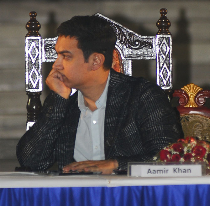 Actor Aamir Khan caught in a pensive moment.
