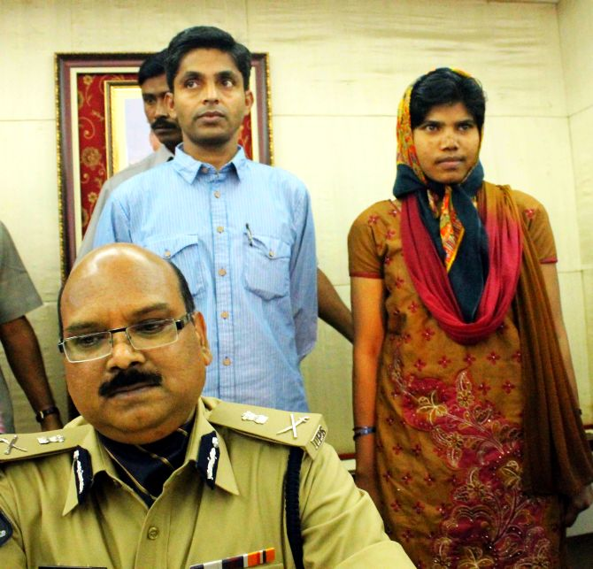 Gudsa Usendi and his wife surrendering before Andhra Pradesh police on Wednesday