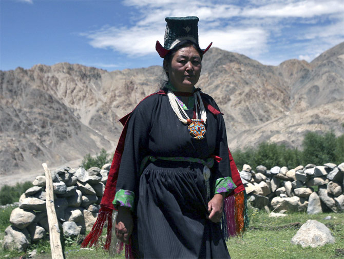 A Ladakhi lady outside her home at Stakmo village on the outskirts of Leh.