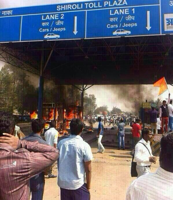 Sena actvists go on a rampage at the toll booth in Kolhapur