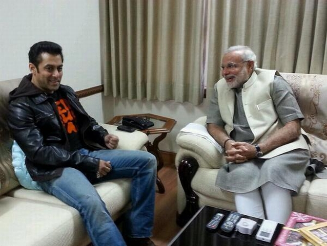 Salman Khan with Gujarat Chief Minister Narendra Modi