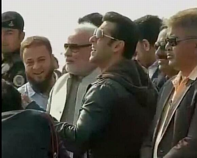 Salman Khan flying kites alongside Narendra Modi in Ahmedabad on Tuesday. Zafar Sareshwala is also seen.