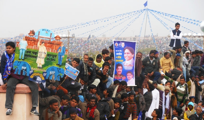 Supporters at the rally at the Ramabai Ambedkar maidan in Lucknow