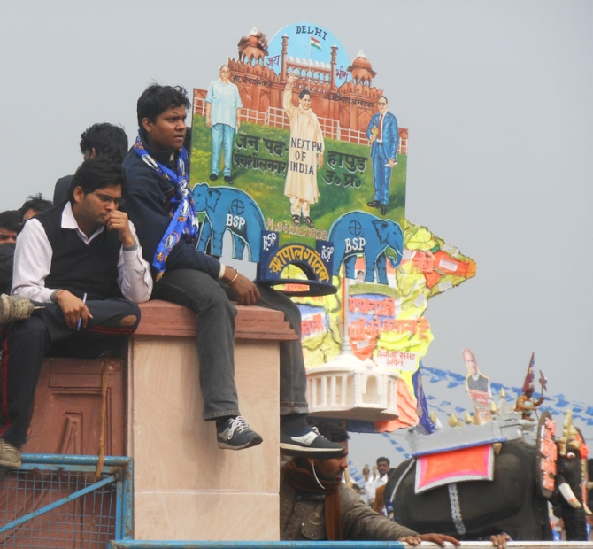 Supporters clamour at the Ramabai Ambedkar maidan in Lucknow