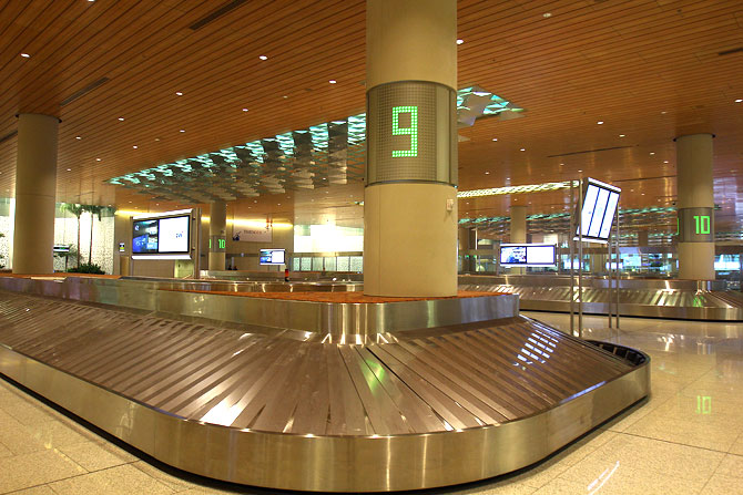 The baggage claims area sports 10 carousels for quick discharge of incoming passengers.