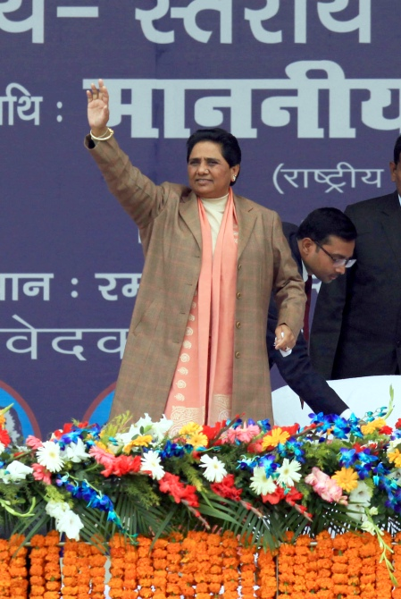 Bahujan Samaj Party chief Mayawati gestures as she address a rally at th