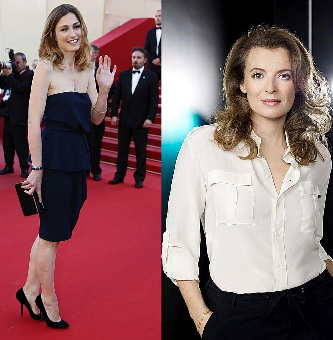 (Left)French actress Julie Gayet (Right) Valerie Trierweiler