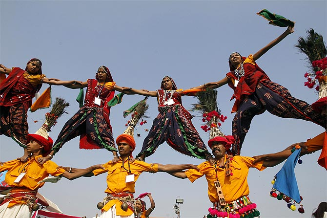 Folk dancers at the international kite festival in Ahmedabad.