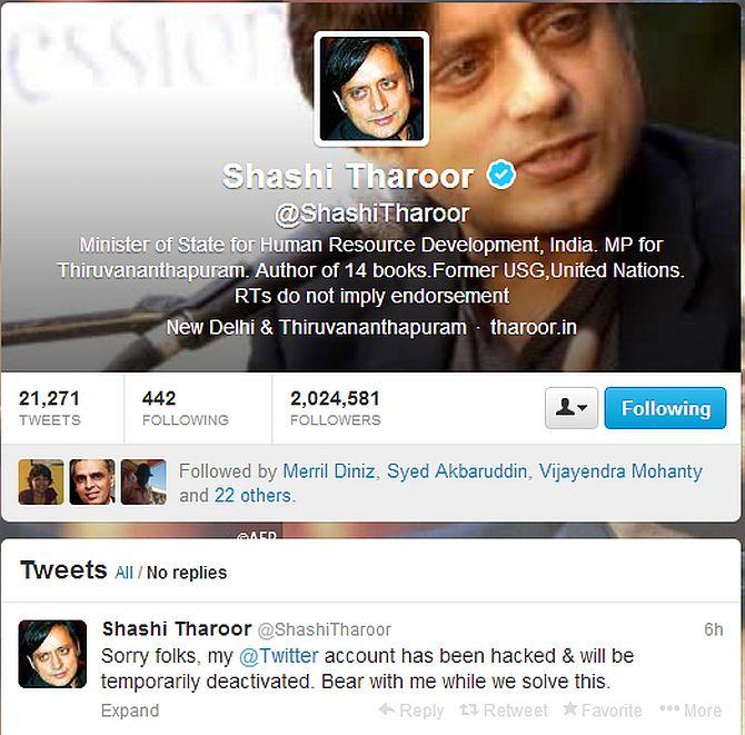 Tharoor's Twitter account hacked, romantic tweets sent to Pak journo