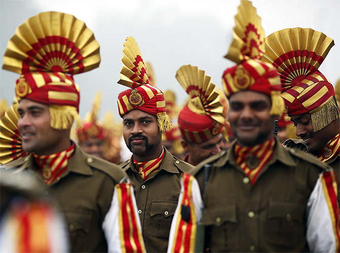 Indian soldiers take part in the rehearsal for the Republic Day parade in New Delhi.
