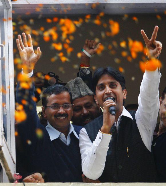 Delhi CM Arvind Kejriwal and AAP leader Kumar Vishwas