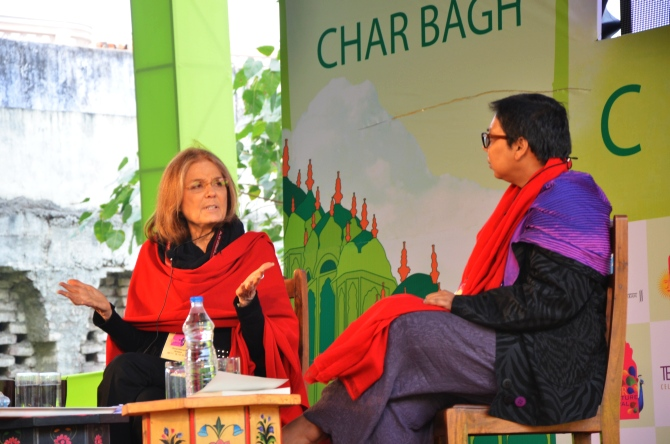 Activists Gloria Steinem and Ruchira Gupta at the Jaipur Literature Festival