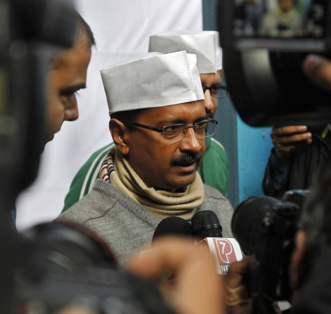 Arvind Kejriwal speaks with the media in New Delhi
