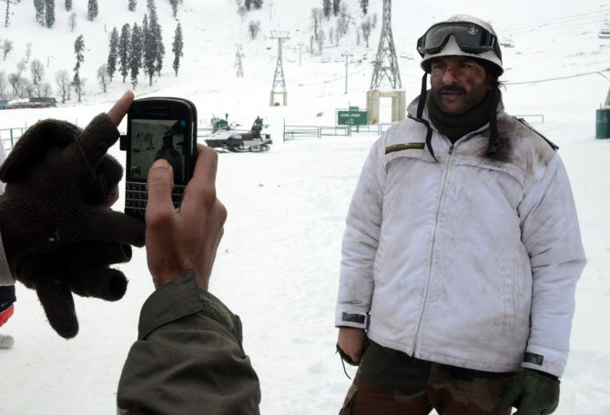 Actor Saif Ali Khan poses for a photograph. He is in Gulmarg where his film 'Phantom' is being shot