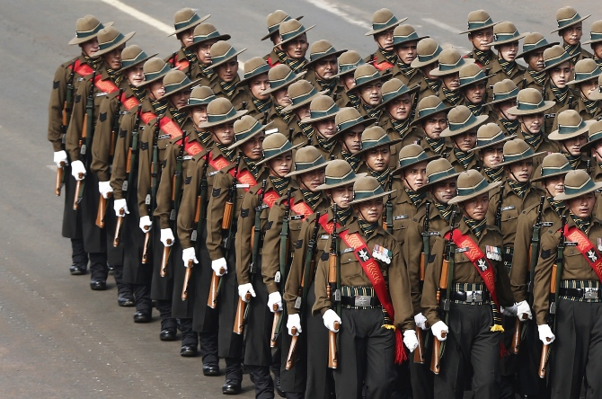 Gorkha soldiers march during the full dress rehearsal for the Republic Day parade in New Delhi on January 23, 2014.
