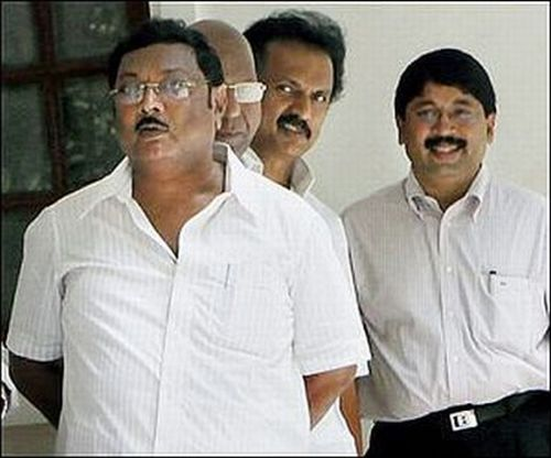 MK Azhagiri (front) with brother MK Stalin (2nd from right) and Dayanidhi Maran