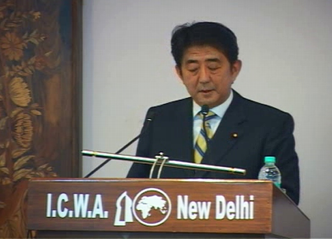 Japan's Prime Minister Shinzo Abe speaks at the Indian Council of World Affairs in New Delhi.