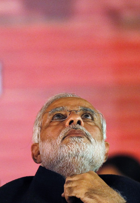 BJP's prime ministerial candidate Narendra Modi attends the party's national council meeting at Ramlila ground in New Delhi