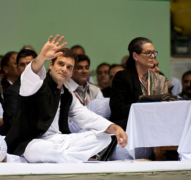 Congress Vice-President Rahul Gandhi and party President Sonia Gandhi at the AICC meeting in New Delhi, January 17, 2014.