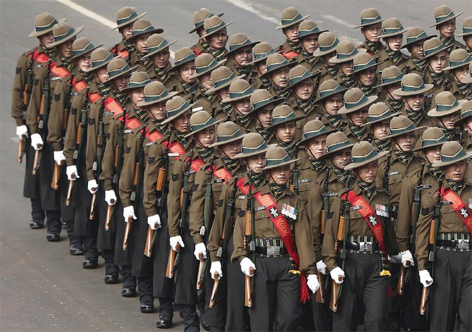 Army soldiers march the Republic Day parade in New Delhi.