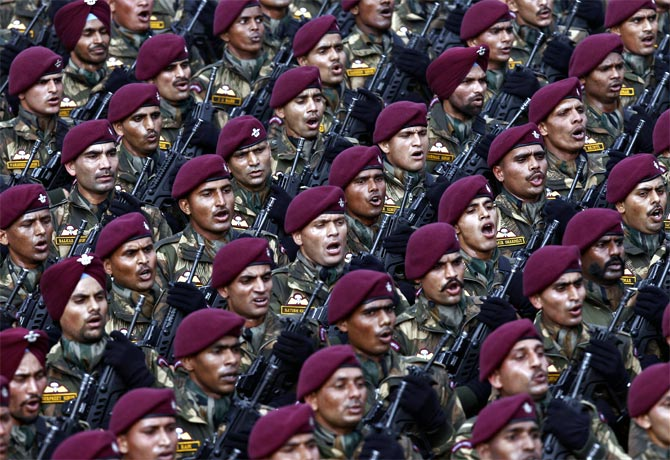 Army soldiers during the parade in New Delhi