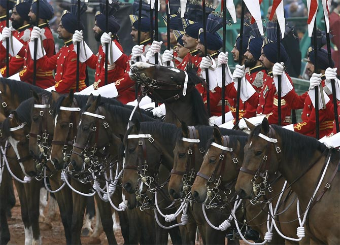 The Indian President's Body Guards, mounted on their horses, take part in the Republic Day parade