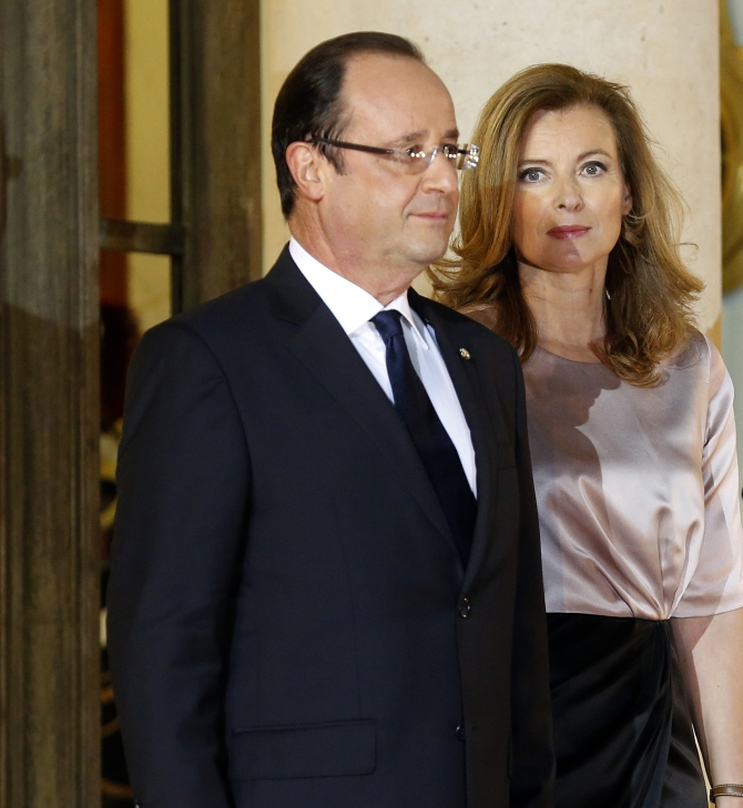 French President Francois Hollande and Valerie Trierweiler in Paris