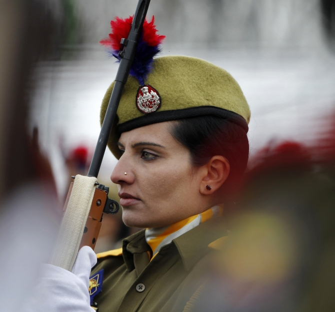 A policewoman attends the Republic Day parade