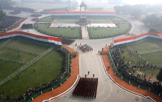 A bird's eye view of Rajpath during the 65th Republic Day Parade