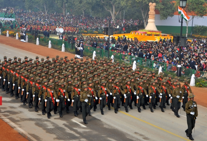 The Gorkha Regiment marching contingent passes through during the parade