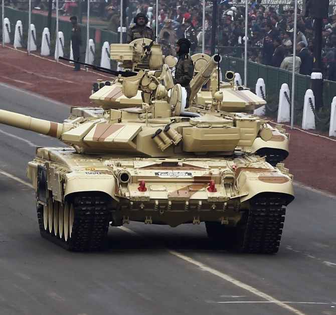 Indian Army's T-90 tank during the Republic Day parade in New Delhi