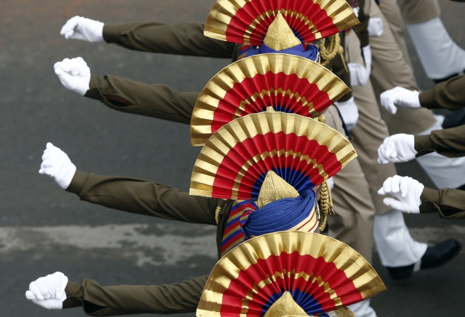 Army soldiers march for the Republic Day parade in New Delhi