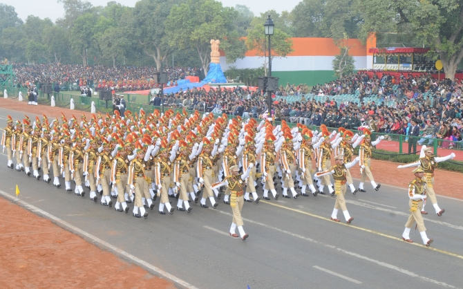 The ITBP marching contingent passes through Rajpath during the parade
