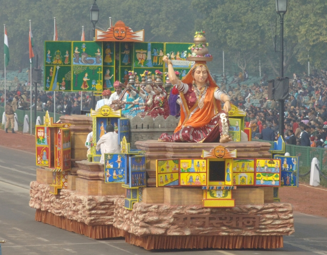 The tableau of Rajasthan arrives at the parade