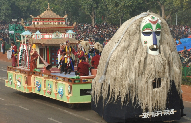 The tableau of Arunachal Pradesh arrives at the parade