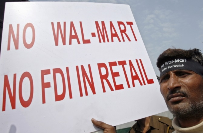 A protest against FDI in retail in New Delhi