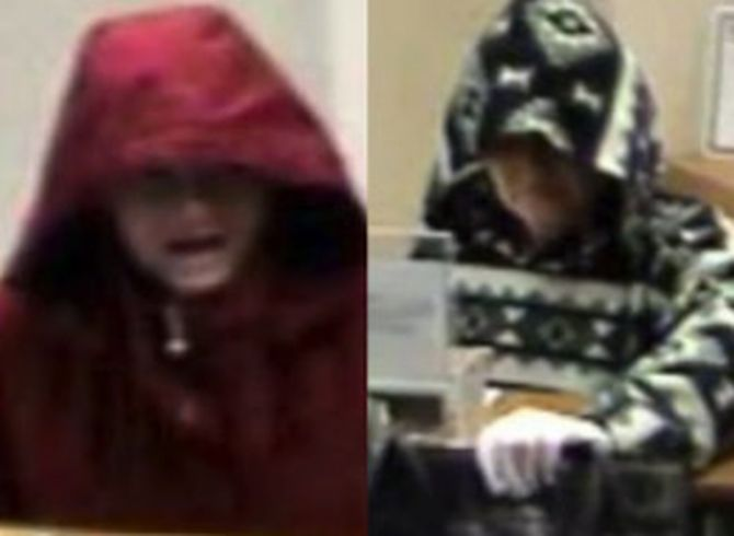 Video grab combination shows a female bank robber attacking the same bank twice in different hoodies