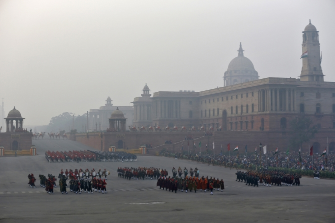 Bands of the military sound the retreat during the 'Beating the Retreat' ceremony in New Delhi.