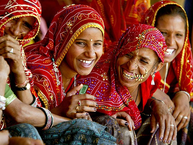 Rajasthani women at the Pushkar fair.