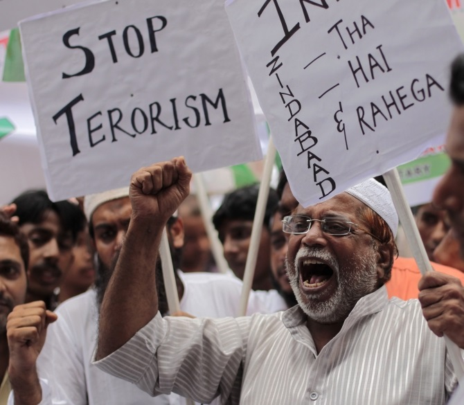An anti-terrorism rally in Delhi.