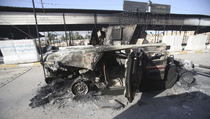 A completely gutted vehicle which was set on fire by the ISIS militants.