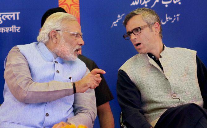 PM Narendra Modi with Jammu and Kashmir CM Omar Abdullah.